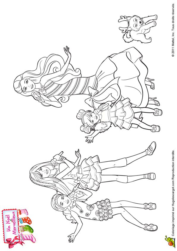 Dessin colorier de barbie entrain de chanter coloriages barbie pinterest barbie and noel - Dessin de barbie facile ...