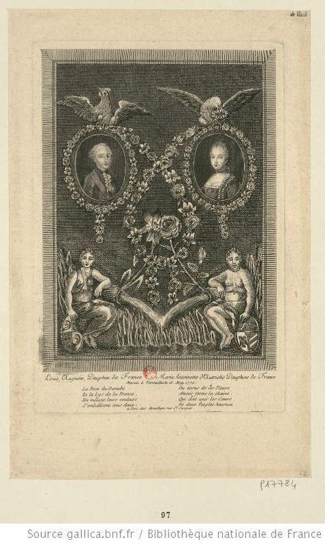 Louis XVI et Marie-Antoinette, Dauphin et Dauphine, en bustes, de trois quarts à droite et de trois quarts à gauche, se faisant face dans deux médaillons entourés de guirlandes de lys et de roses et surmontés, l'un d'un coq gaulois, l'autre de l'aigle autrichienne