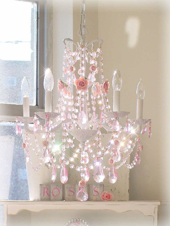 Vintage 5 Light French Chandelier With Roses 399