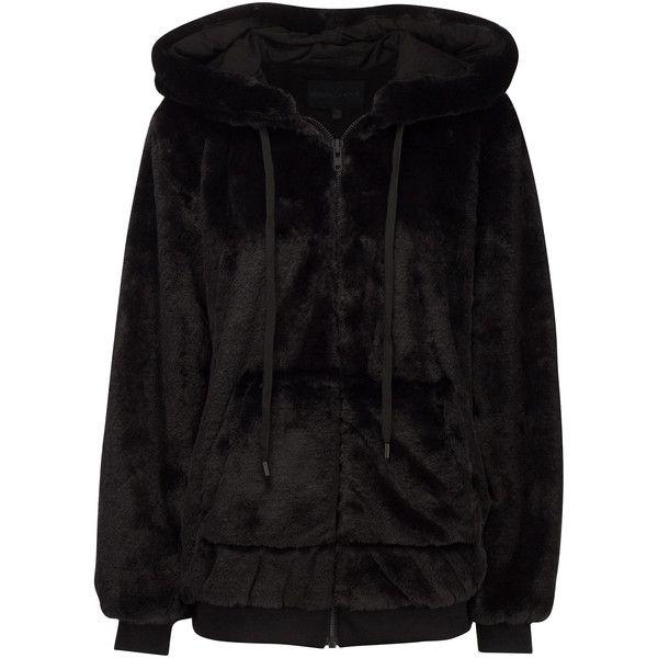 FAUX FUR ZIP-UP HOODIE ($298) ❤ liked on Polyvore featuring tops, hoodies, hoodie top, oversized hooded sweatshirt, oversized hoodies, faux fur hoodie and sweatshirt hoodies