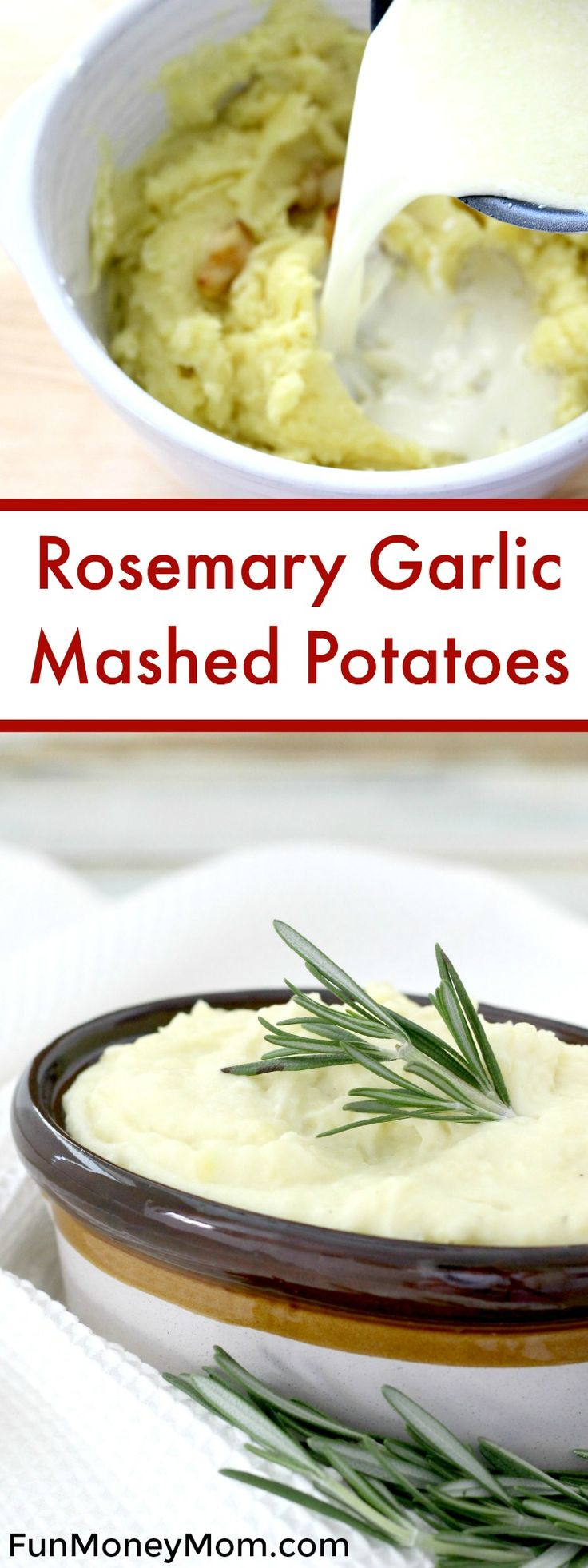Want a delicious recipe that goes perfectly with both a holiday meal and your everyday dinner? These Rosemary Garlic Mashed Potatoes are the perfect side dish for any occasion. via @funmoneymom