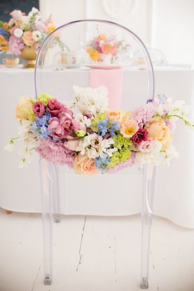 Obsessed with this floral decorated chair: http://www.stylemepretty.com/living/2015/05/27/surprise-garden-inspired-birthday-lunch/ | Photography: Cheryl McEwan - http://www.cherylmcewan.co.za/: