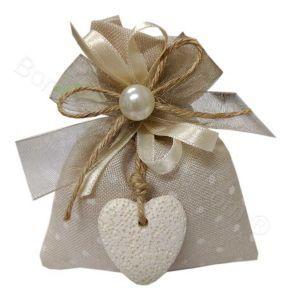 Sacchettino Avorio per Matrimonio Ciondolo Cuore Confezionato