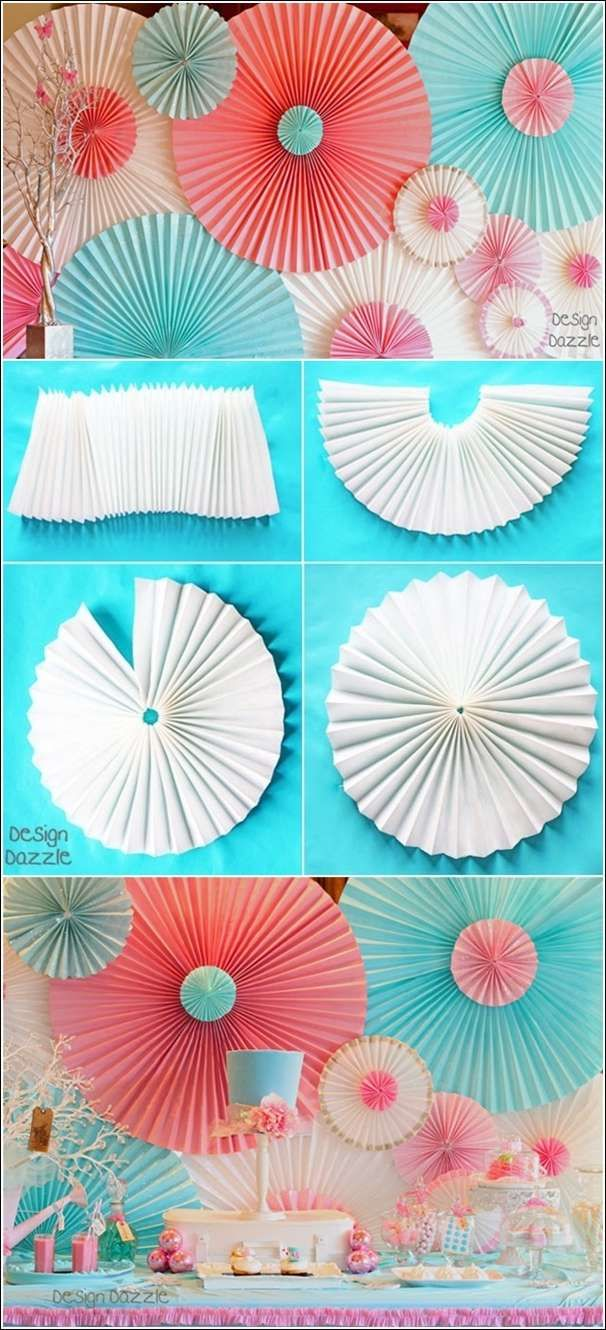 Use temporary pleated paper window shades 36-by-72-Inch, 6-Pack from Lowes (home improvement store). Spray paint, glitter, ribbon