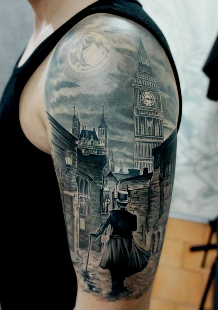 Illusion: My favorite tattoo by Russian artist Pavel Roch is the one shown above. The scene looks almost like a watercolor with soft shading and white highlights. And I wonder how this will look on the client's arm ten years from now. http://illusion.scene360.com/art/45271/tattoos-a-stroll-in-london/