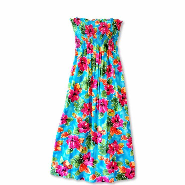 Hoopla Blue Maxi Hawaiian Dress   #hawaiiandress #floraldress