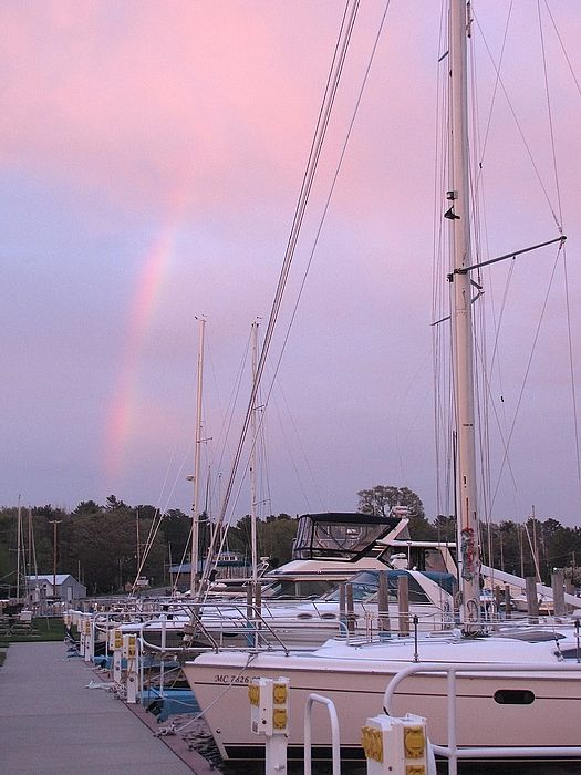 Sail Away Over a Rainbow ~ Snug Harbor Marina in the Village of Pentwater Michigan USA