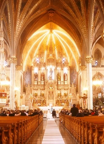 I would love to get married in a church, except I'm not sure what the rules are as to religion and all that... Still, this is beautiful!