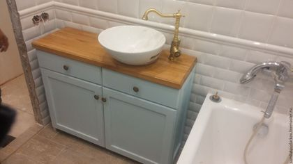 Ванная комната ручной работы. Ярмарка Мастеров - ручная работа. Купить Комод тумба под умывальник. Handmade. Бежевый, интерьер