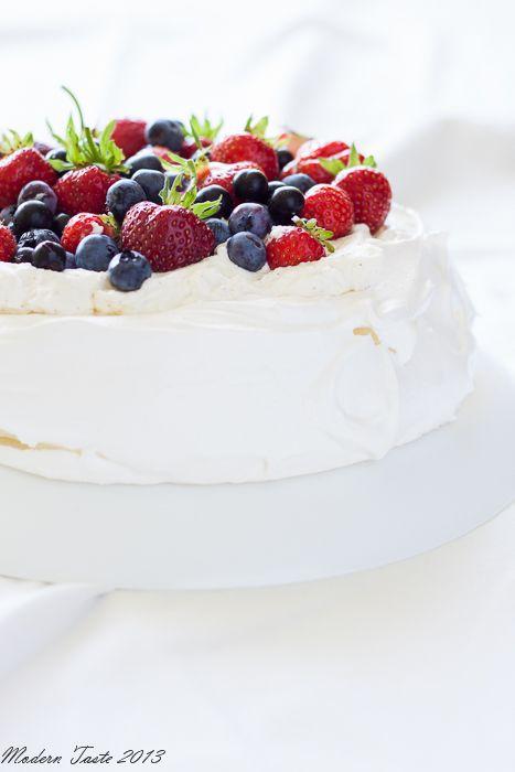 Pavlova with Vanilla Cream and Fresh Berries Recipe