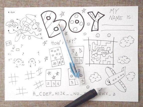 boy guy kids activity sheet games table di LaSoffittaDiSte su Etsy