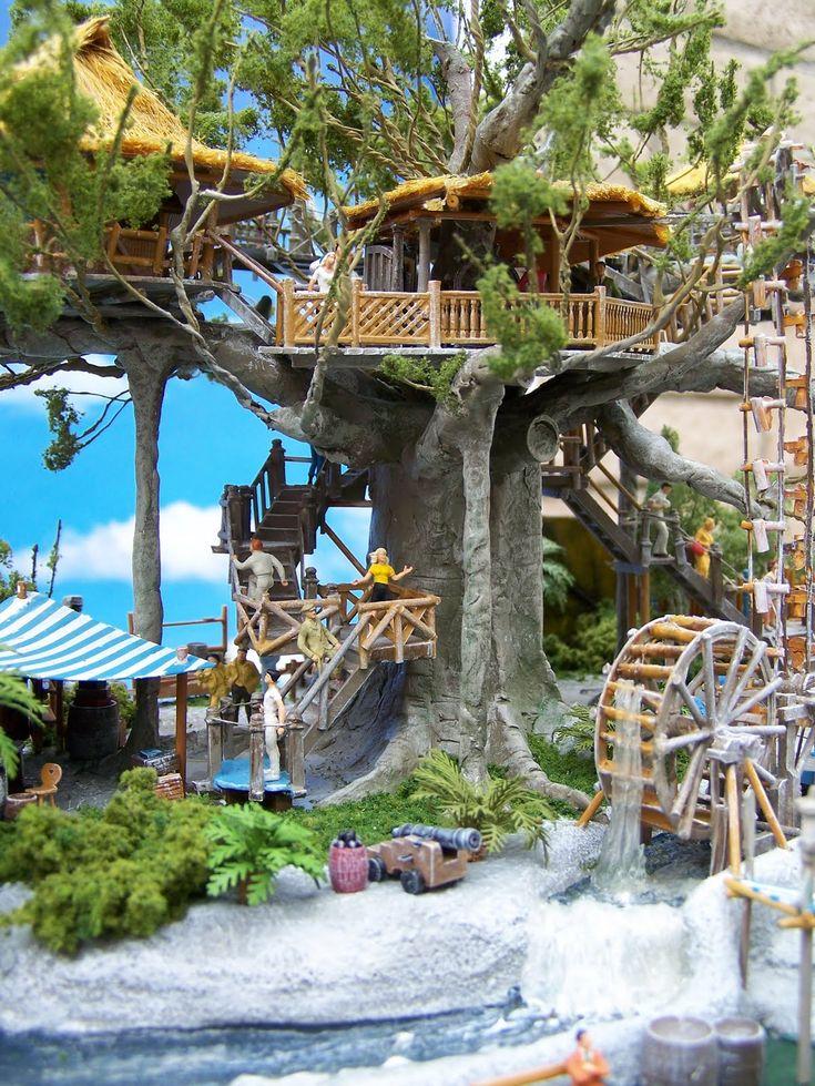 .Tropical tree house in what looks like a banyan tree...