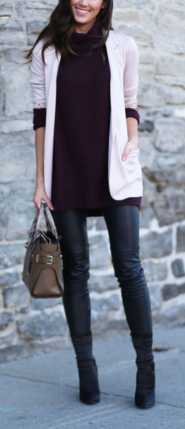 HOW TO LAYER A SWEATER: prettiest shades of pink and purple layered for fall. Sweater and blazer layers with skinny leather pants #sweaterweather #layers #fallfashion