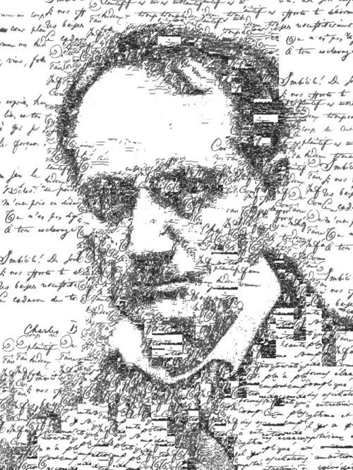 "Manuscript self portrait of Charles Baudelaire (1821-1867), by Sergio Albiac - Portrait of the french poet using one of his manuscript poems. From the series ""Manuscript self portraits"". Generative calligraphic collage."