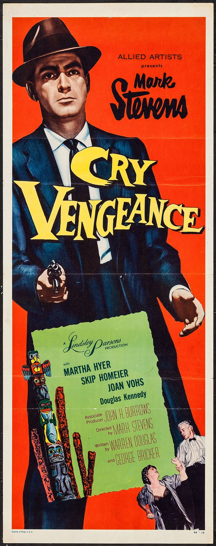 """Cry Vengeance (Allied Artists, 1955). Insert (14"""" X 36""""). Crime. Starring Mark Stevens, Martha Hyer, Skip Homeier, and Douglas Kennedy. Directed by Mark Stevens"""
