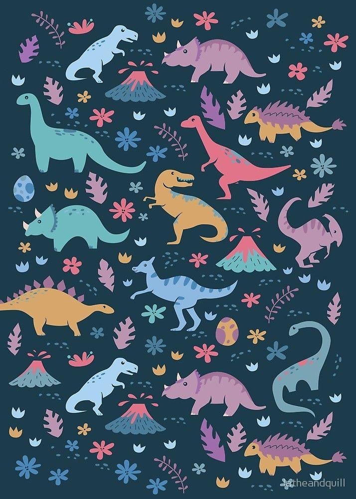 Kawaii Dinosaur Illustration Dinosaur Illustration Dinosaur Wallpaper Dinosaur Background