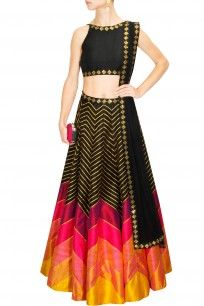 Black, hot pink and yellow sequins embroidered lehenga set
