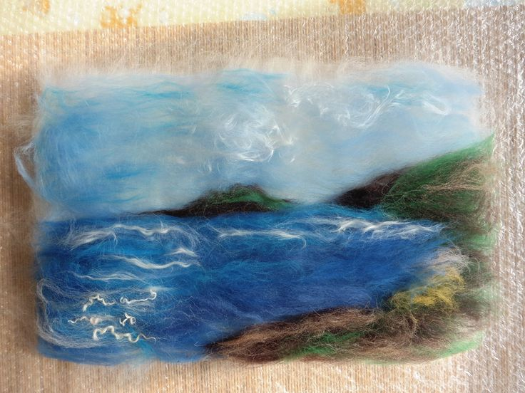 'Kirkcudbright Bay looking across to Little Ross' - hand felted wallhanging by Deborah Iden.  See more by LittleDeb on Facebook, Folksy and Esty.