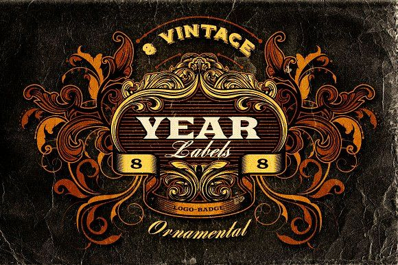 8 Vintage Year Labels by Cruzine on @creativemarket