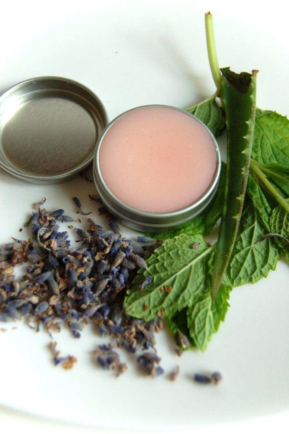Vegan All-Natural Healing Lavender Aloe Vera Lip Protection Balm Lip Softener. $4.50, via Etsy.