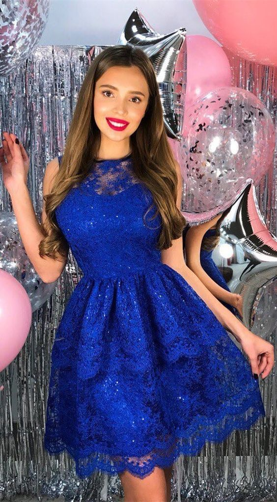 b77123452c5 Cute Round Neck Floral Lace Beaded Royal Blue Short Homecoming Dress ...
