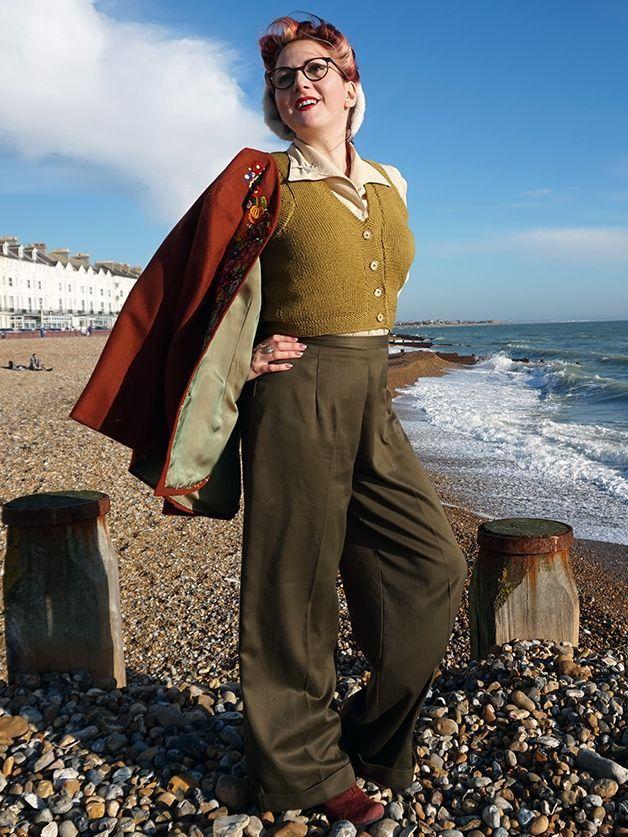 1940s Style Ladies Swing Trousers - Olive Oyl