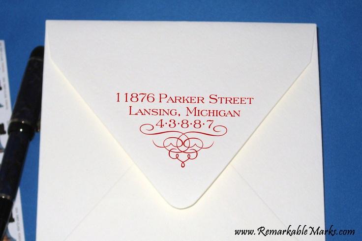 Calligraphy Custom Address Stamp Envelope Flap Personalized Return Address Label. $27.00, via Etsy.