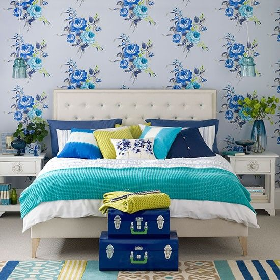 Modern blue bedroom with floral wallpaper | Bedroom decorating | Ideal Home | Housetohome.co.uk