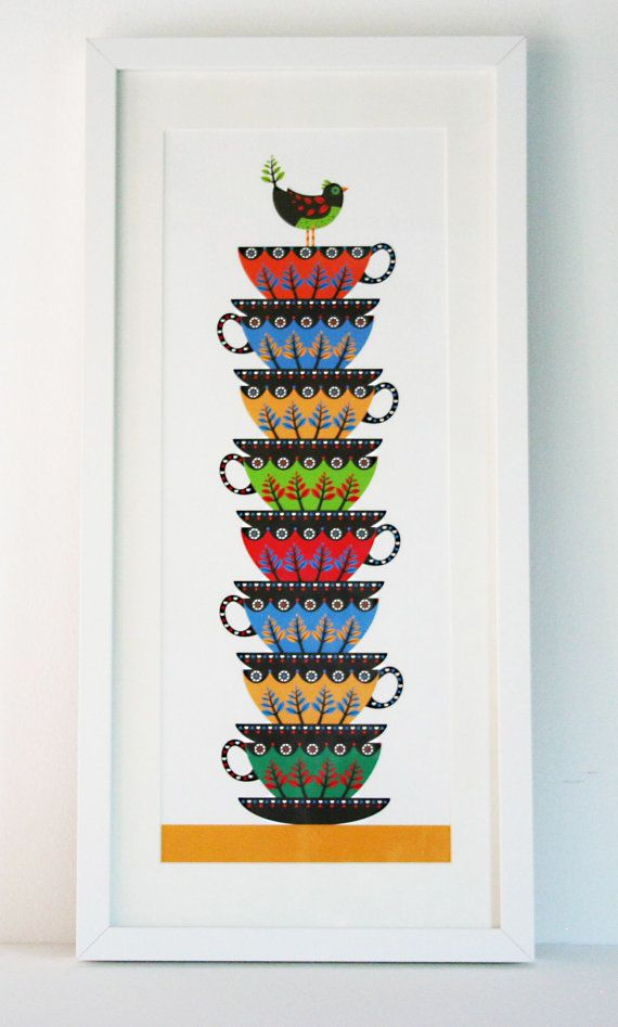 Illustration   'Tea Cup Stack' print by hollyoverthemoon on Etsy, £30.00