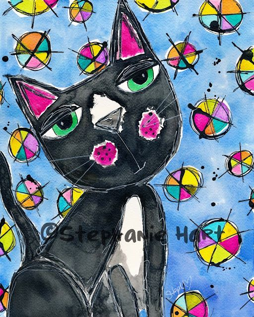 Stephanie Hart Watercolor Cat Art Twinkling H2O