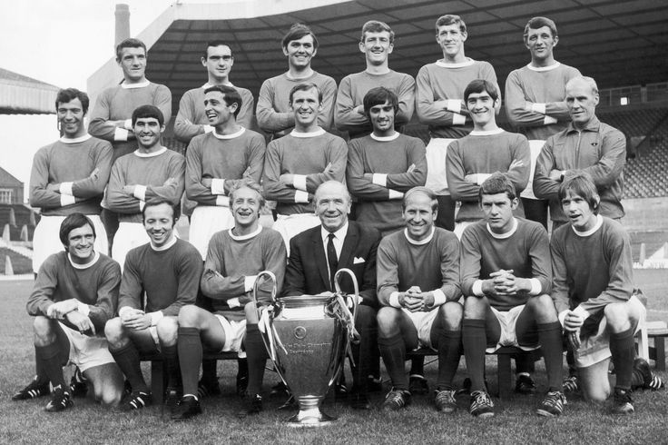 Manchester United European Cup winning team poses with the trophy at Old Trafford 1968 Bill Foulkes John Aston Jimmy Rimmer Alex Stepney Alan Gowling David Herd David Sadler Tony Dunne Shay Brennan Pat Crerand George Best Francis Burns Jack Crompton Jimmy Ryan Nobby Stiles Denis Law Matt Busby Bobby Charlton Brian Kidd John Fitzpatrick