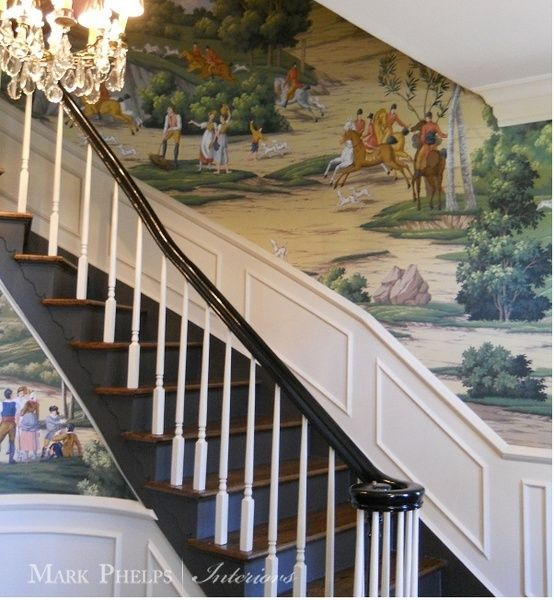 Beautiful equestrian wallpaper mark phelps interiors for Interior design charlotte nc