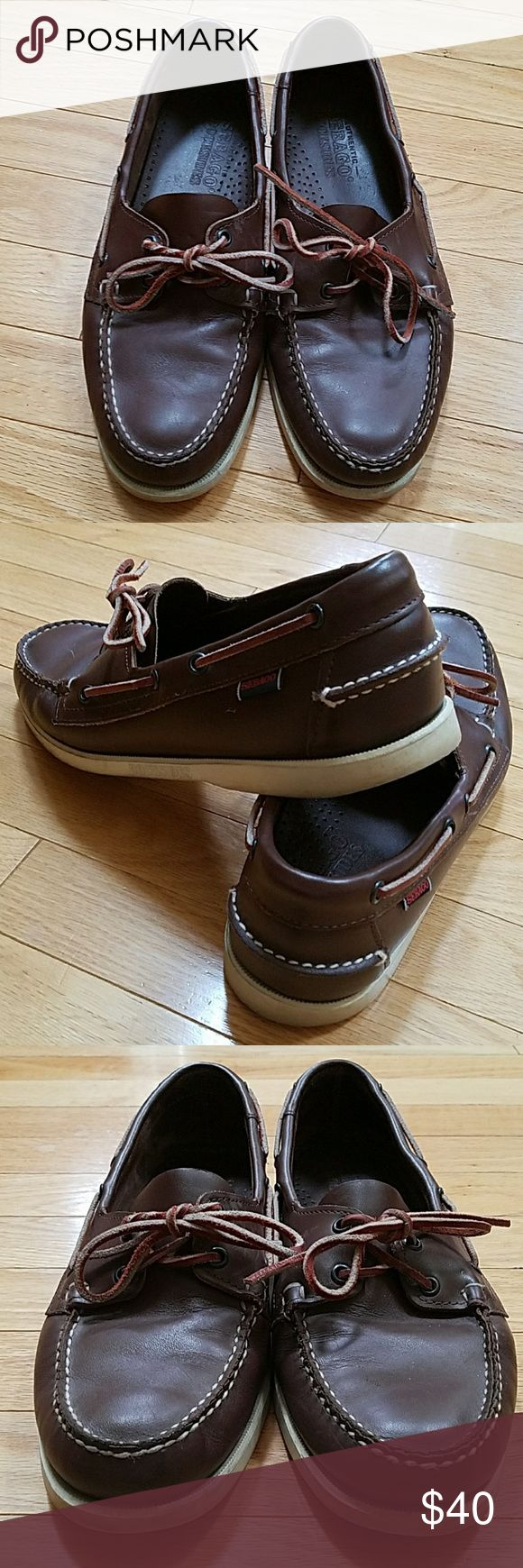 Sebago Docksiders Brown Leather Boat Shoes Sebago Docksiders  Brown Leather Men's size 10  Great for boating or casual wear ECU Sebago Shoes Boat Shoes