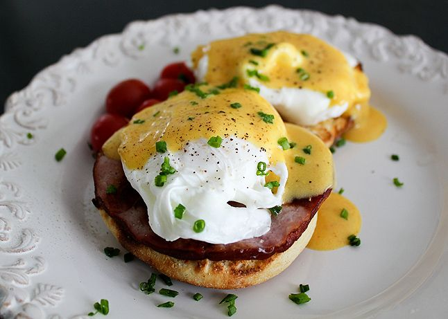Eggs benedict completely from scratch--from the hollandaise sauce to the English muffin