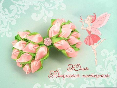 Праздничная заколка канзаши к 8 марта совместно с LiliaLady777 Прически косы плетение + конкурс - YouTube