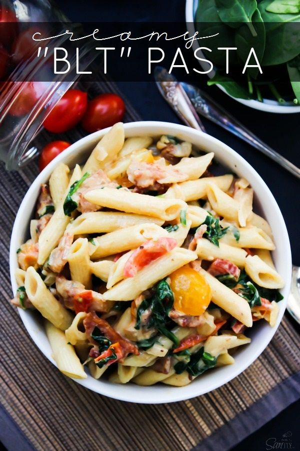 "Creamy ""BLT"" Pasta a twist on your traditional BLT. Made with bacon, roasted tomatoes and spinach, this cheesy rendition will have you craving a BLT every…single…night. As if BLT's could get better, well scratch that they can. In a creamy, cheesy pasta dish. What I love about this pasta dish is the medley of flavors. …"