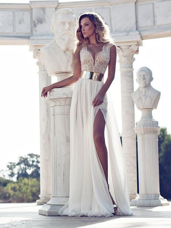 A-line / prinsesse V-hals korte ærmer Lace gulvlange chiffon kjoler