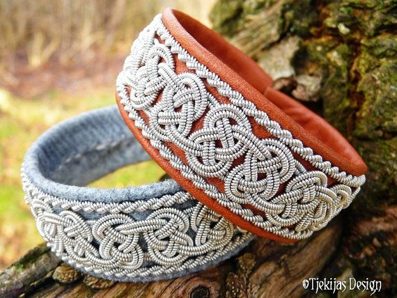 Norse Viking Bracelet BEOWULF Swedish Sami Cuff in Cognac Brown Reindeer Leather with Spun Pewter Braids - Nordic Natural Elegance.