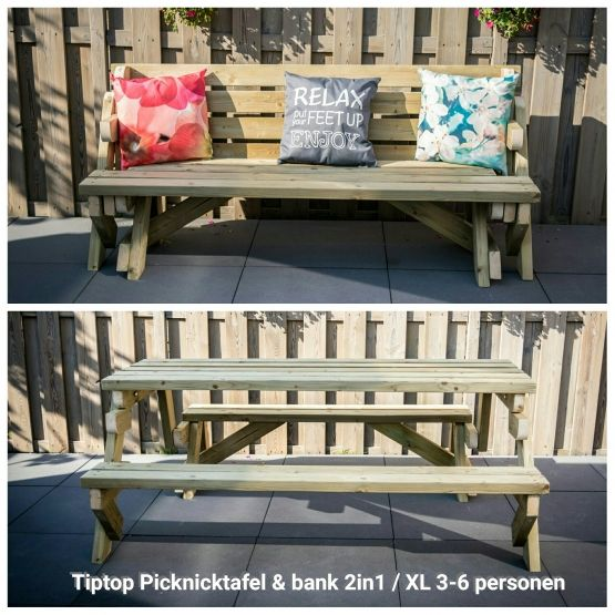 FeelGood Market online:Picknicktafel & bank 2in1 (XL-model 3/6 personen)