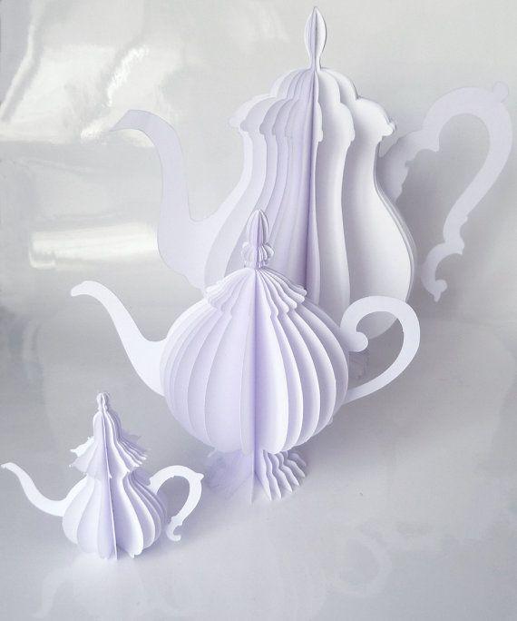 set of 3 paper teapots by kraft & carat on Etsy