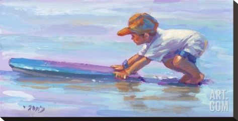 Little Surfer Stretched Canvas Print by Lucelle Raad at Art.com