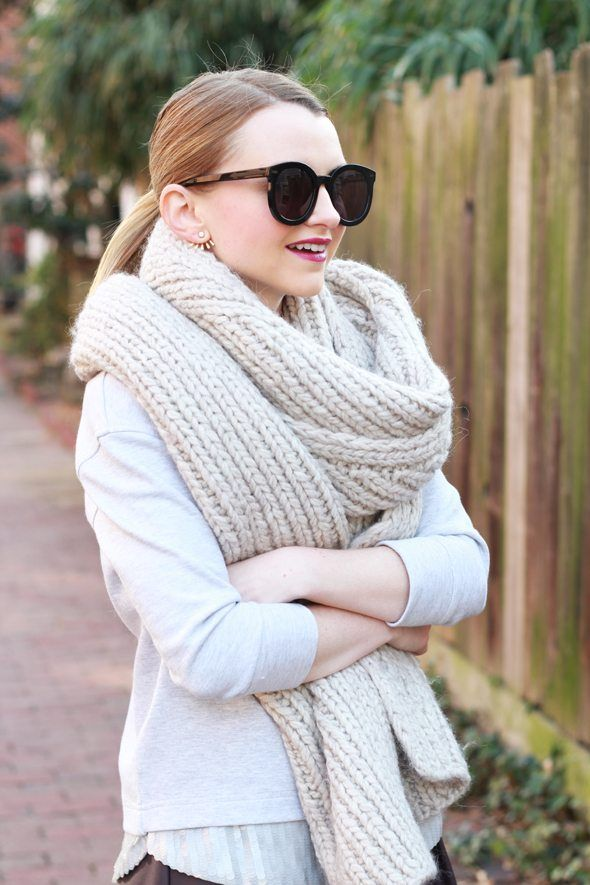 Poor Little It Girl - J.Crew Sequin Sweatshirt and Oversized Knit Scarf 66efadca672