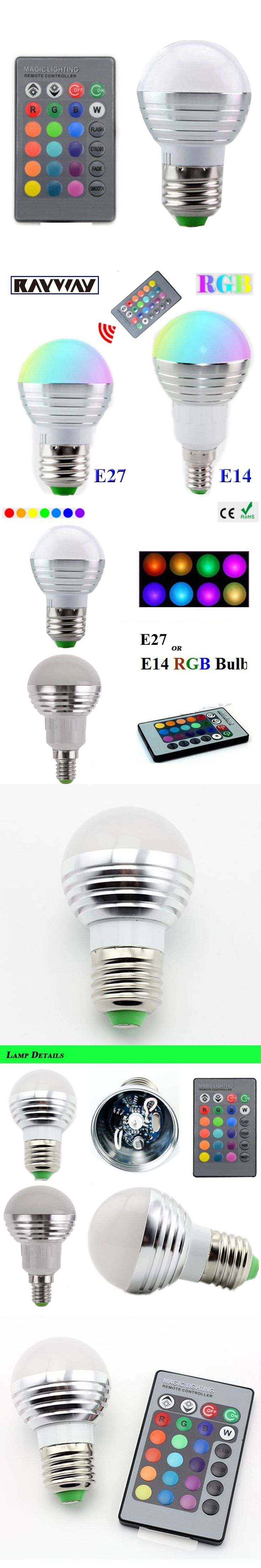 1Pcs E14 E27 LED RGB Bulb lamp AC110V 220V 3W LED RGB Spot light dimmable magic Holiday RGB lighting+IR Remote Control 16 colors