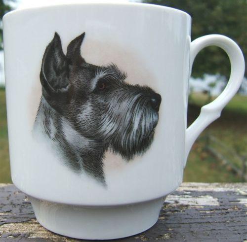 $65 schumann-arzberg-scottish-terrier-dog-porcelain-cup-mug-vintage-Germany-1960s