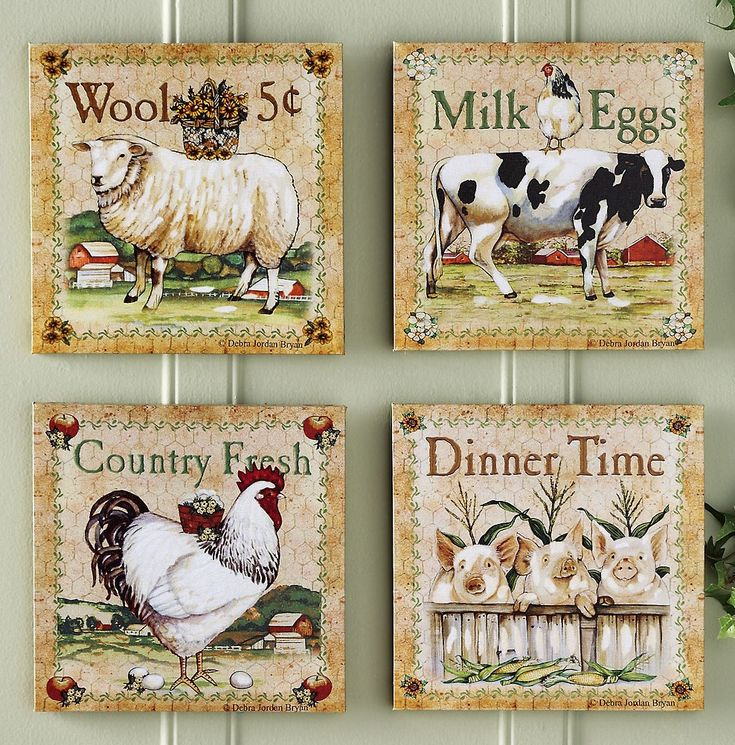 Prints for kitchen walls set of 4 farm animal canvas for Animals decoration