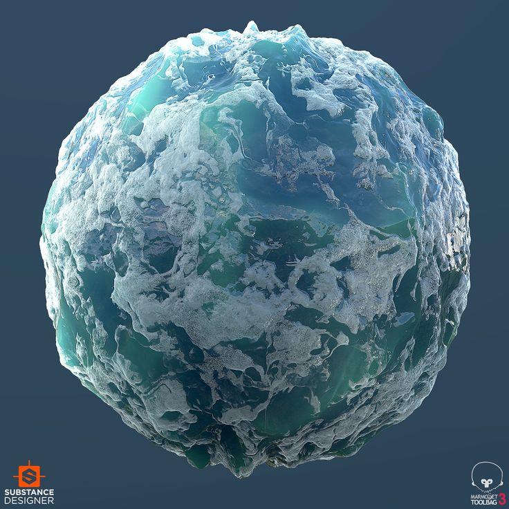 Material study of ocean foam. 100% Substance Designer rendered in Marmoset.