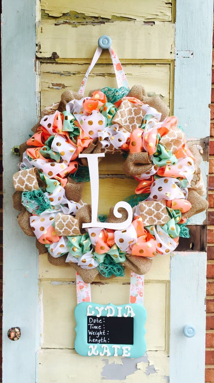 A personal favorite from my Etsy shop https://www.etsy.com/listing/265423393/baby-girl-coralmint-hospital-door-wreath