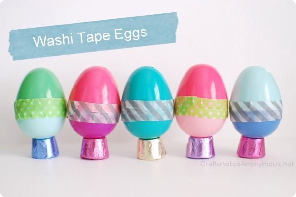 Washi tape Easter eggs: A fun and easy craft to make this spring. I AM OBSESSED WITH WASHI TAPE PROJECTS!!!