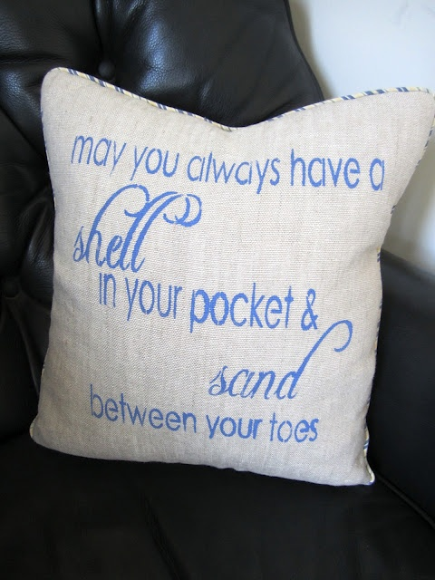 """""""May you always have a shell in your pocket & sand between your toes"""" pillow.Living Rooms, Beach House, Quotes Cushions, Beachy Pillows, Beach Decor, Beach Quotes, Coastal Decor, Beachy Stuff, Classic Casual"""