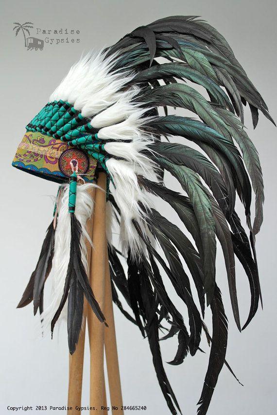 All Black Feather Headdress Gypsy Silk White Faux Fur